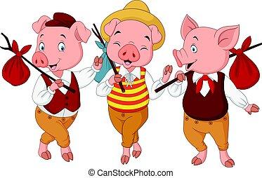 Cartoon three little pigs - Vector illustration of Cartoon...