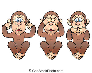 Vector illustration of cartoon Three monkeys - see, hear, speak no evil