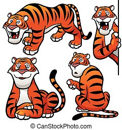 Tiger - Vector illustration of Cartoon Tiger Character Set