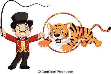 Cartoon tiger jumping through ring - Vector illustration of ...