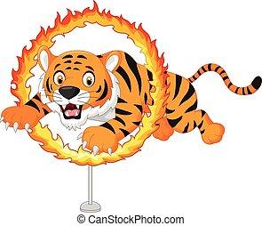 Cartoon tiger jumps through ring of - Vector illustration of...