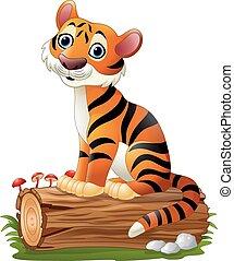 Cartoon tiger sitting on tree log