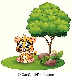 Cartoon tiger sitting under a tree on a white background