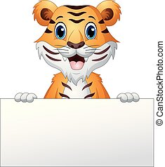 Cartoon tiger with blank sign