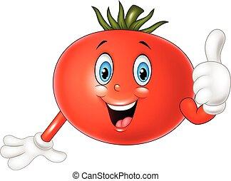 Cartoon tomato giving thumbs up