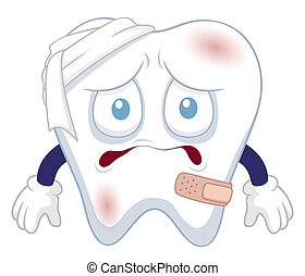 tooth be injured - Vector illustration of Cartoon tooth be...