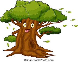 Cartoon tree with a face