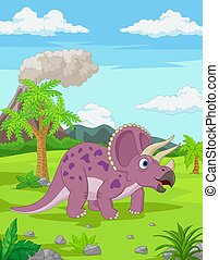 Cartoon Triceratops in the jungle