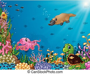 Cartoon tropical animal with beautiful underwater world