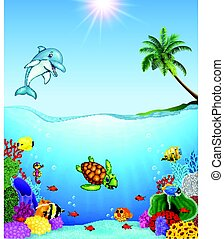 Cartoon tropical fish and beautiful underwater world
