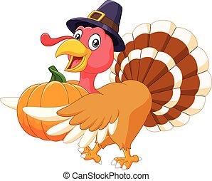 Cartoon turkey holding a pumpkin