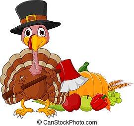 Cartoon turkey holding axe with harvest