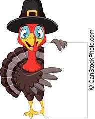 Cartoon turkey holding blank sign