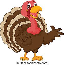 Cartoon turkey presenting - vector illustration of Cartoon...