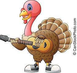 Cartoon turkey with a guitar