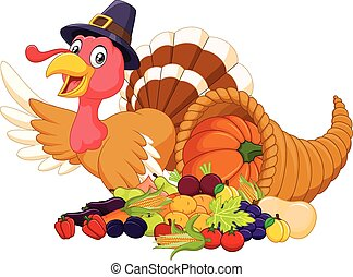 Cartoon turkey with horn of plenty - Vector illustration of...