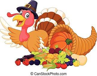 Cartoon turkey with horn of plenty - Vector illustration of ...