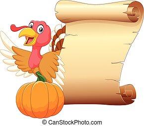 Cartoon turkey with vintage scroll