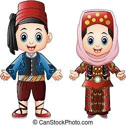 Cartoon Turkish couple wearing traditional costumes