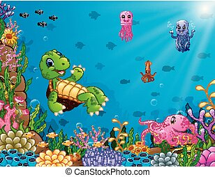 Cartoon turtle and octopus underwater