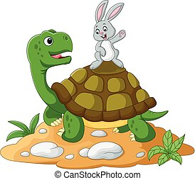 cartoon turtle and rabbit