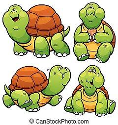 Turtle - Vector illustration of Cartoon Turtle Character Set