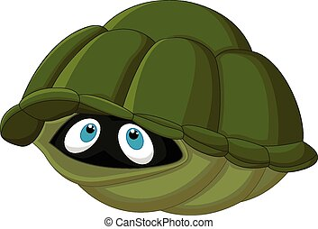 Cartoon turtle hides in its shell - Vector illustration of...