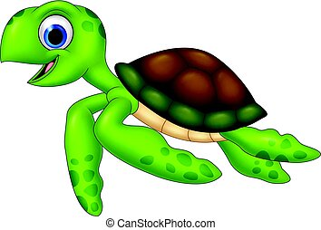 Cartoon turtle isolated on white background