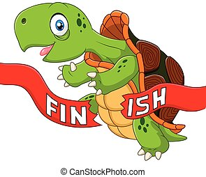 Cartoon turtle wins by crossing - Vector illustration of...