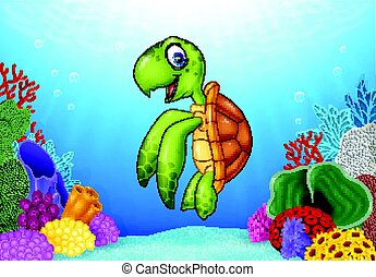 Cartoon turtle with beautiful underwater world