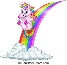 Cartoon unicorn sliding on a rainbow
