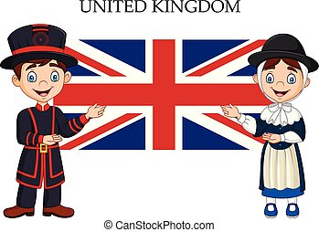 Cartoon United Kingdom couple wearing traditional costume