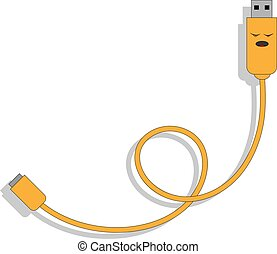 vector illustration of cartoon USB cable with stern face in yellow kawaii style twisted in a loop with shadow on white background