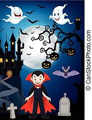 Cartoon vampire with Halloween background