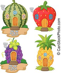 Vector illustration of Cartoon variety of home fruit