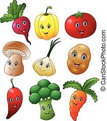 Cartoon vegetables collection set