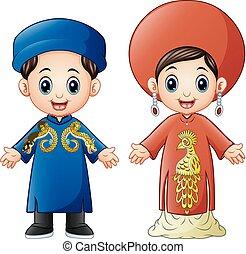 Cartoon Vietnam couple wearing traditional costumes