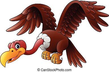 Cartoon vulture flying