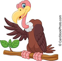 Cartoon Vulture presenting - Vector illustration of Cartoon...