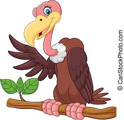 Cartoon Vulture presenting - Vector illustration of Cartoon ...