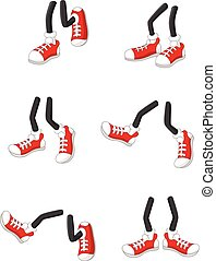 Cartoon walking feet on stick legs - Vector illustration of...