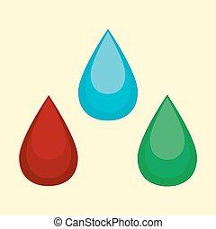 Vector illustration of cartoon water blood oil drop