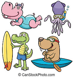 Water sport - Vector illustration of Cartoon Water sport ...