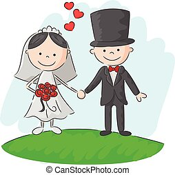 Cartoon Wedding ceremony bride and - Vector illustration of...