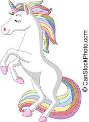 Cartoon white unicorn standing on white background