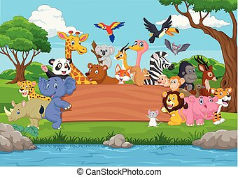 Cartoon wild animal with blank board in the jungle