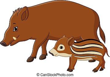 Cartoon wild boar and piglet - Vector illustration of...