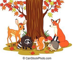Cartoon wild creatures in the forest - Vector illustration...