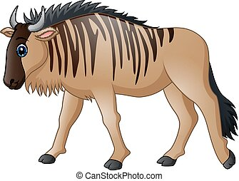 Cartoon wildebeest mascot - Vector illustration of Cartoon...