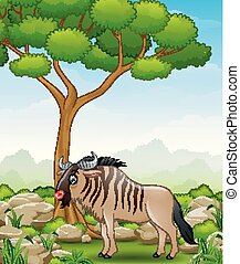 Cartoon wildebeest mascot in the jungle - Vector...